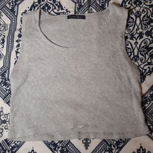 Tops - Grey Ribbed Crop Top